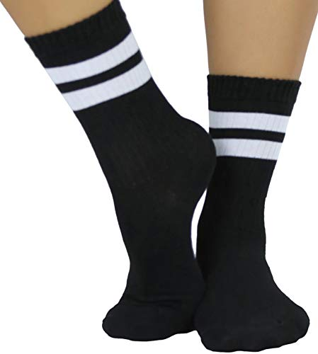 (ToBeInStyle Women's Throwback Athletic Ankle Sock - Black/White - OS)