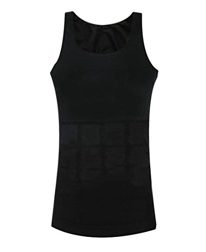Andyou Men Jammer Sports Compression Summer Pure Color Tank Top Shirt Black L