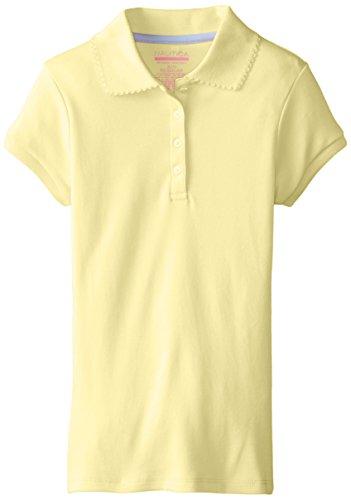 Nautica Girls Little Long Sleeve Polo Light Yellow 6X X-Large