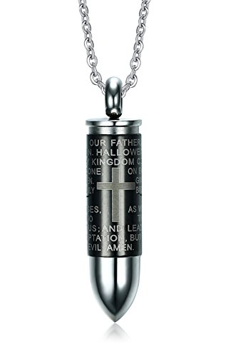 Stainless steel bible lords prayer bullet shape memorial keepsake stainless steel bible lords prayer bullet shape memorial keepsake ash holder cremation urn pendant necklace24 chain mozeypictures Image collections