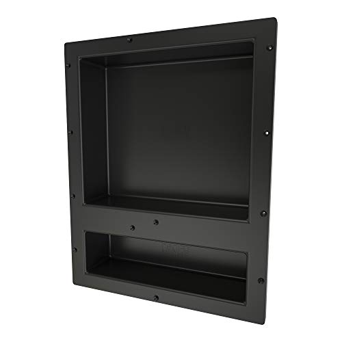 Redi Niche Double Recessed Shower Shelf – Black, Two Inner Shelves with Divider, 16-Inch Width x 20-Inch Height x 4-Inch Depth