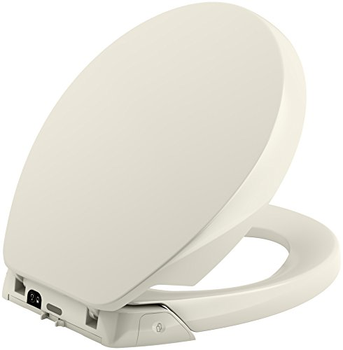 KOHLER K-5589-96 Purefresh Quiet-Close with Grip-Tight Bumpers Round-front Toilet Seat, Biscuit