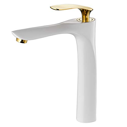 (Modern Bathroom Vessel Sink Faucet Single Handle Vanity Faucet, Solid Brass White&Gold (Tall 11.9inch) 228WK)