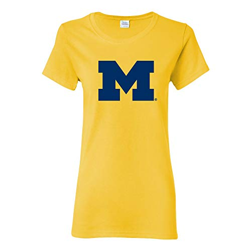 LS02 - Michigan Wolverines Primary Logo Womens T-Shirt - Medium - Daisy