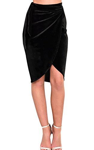 IKRUSH Women's Ruby Velour Asymmetric Skirt Size in Black Size 10