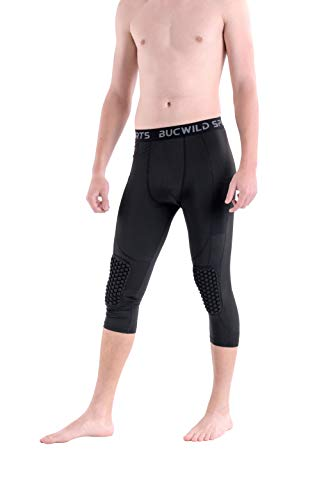 Bucwild Sports ¾ Compression Pants with Knee Pads Size Youth Boys - Adult Men Black