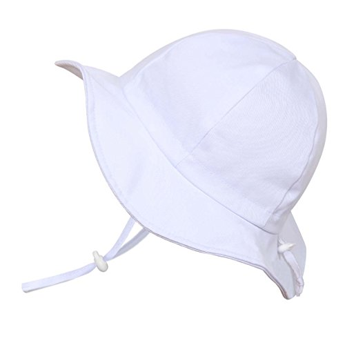 Cute Baby Girl Boy Cotton Sun Hat 50 UPF, Adjustable Good Fit, Stay-On Tie (S: 0-9m, Floppy Hat: White)