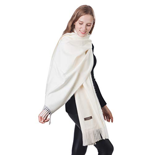 Women Soft Cashmere Wool Scarf Solid Beige Pashminas Wraps Shawl Wedding Evening Dresses Oversize Stole