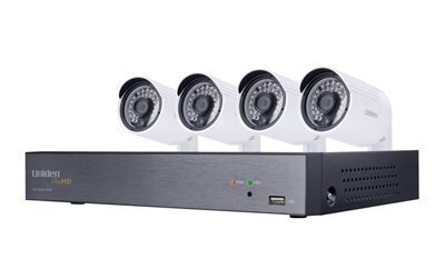Uniden 1080P HD 4CH Video Security System w/ Four 2.43 MP Weatherproof IP66 Bullet Cameras, 100