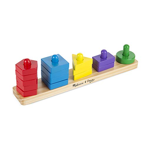 31EPeyKmOQL - Melissa & Doug Stack and Sort Board - Wooden Educational Toy With 15 Solid Wood Pieces