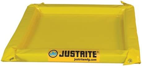 Justrite Manufacturing Company LLC 28422 - Maintenance Spill Berm - PVC coated fabric, Yellow, 78 in Wide, 78 in Long