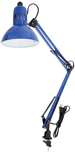 U Desk Lamp with Blue Metal Shades, Blue Finish ()