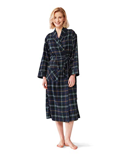 Womens Flannel Plaid (SIORO Womens Flannel Robes Soft Cotton Plaid Bathrobe Shawl Collar Loungewear Housecoat,Navy and Green Plaid S)