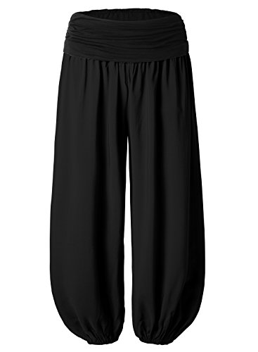 BAISHENGGT Women's Floral Print Elastic Waist Harem Pants One Size Solid-Black ()