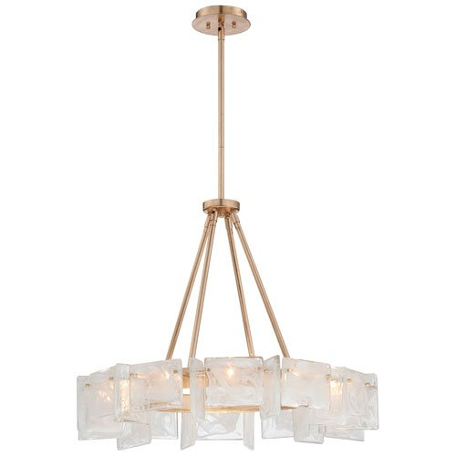 Metropolitan N7287-595 Arctic Frost 12 Light Chandelier in Antique French Gold with White Swirl glass