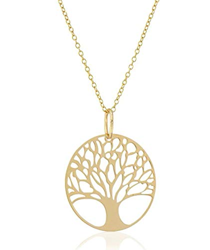 14k Gold on Sterling Silver Tree of Life Disk Pendant Necklace 18 inch| Immortality Growth Strength Necklace Great Gift #SSNK-18-1G