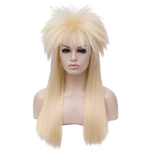 Adult 70'S 80'S Halloween Costume Wig Rock Men's Punk Metal Rocker Synthetic Wig Gold Long Straight Hair 22inches