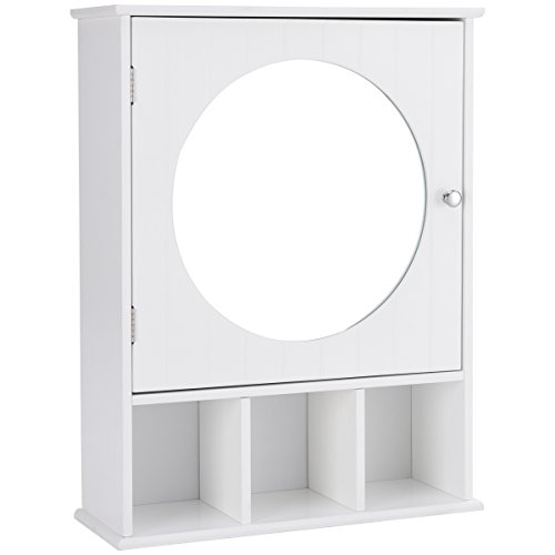 Giantex Mirrored Bathroom Cabinet Medicine Wall Mount Storage Organizer Round Mirror Adjustable -