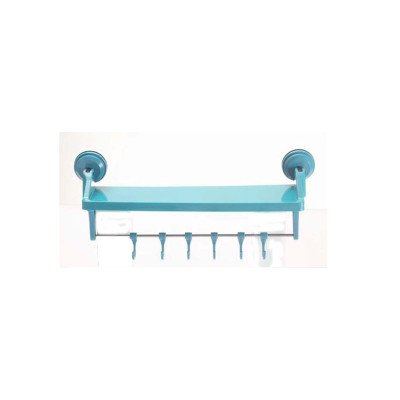 Push 'N Stay Suction 14'' Storage Shelf with Hooks Color: Blue