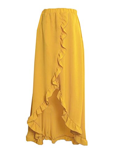 De Plage Chic Longue Jupe Yellow Femme Femelle avec Skirt Glamour Volants Jupe Jupe Aoliait Jupe Fendue Couleur Dcontracte Unie wx4vqnPn