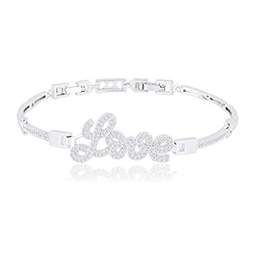 ORROUS & CO 18k White Gold Plated Cubic Zirconia CZ Love Bracelet (7.25 inches - 8.25 inches)