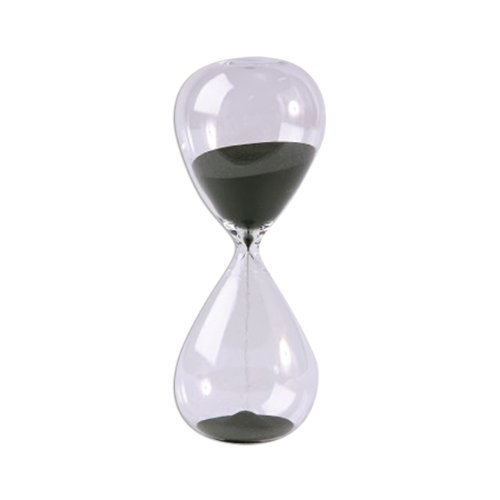 Large Fashion Black Sand Glass Sandglass Hourglass Timer Clear Smooth Glass Measures Home Desk Decor Xmas Birthday Gift (5 Minutes) by Winterworm (Image #1)