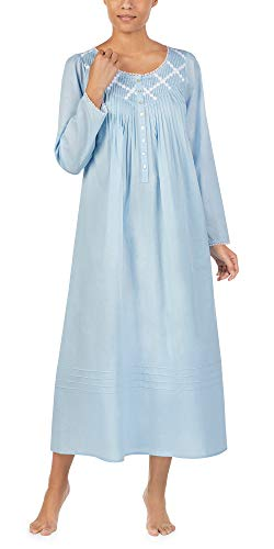 Eileen West Long Sleeve Cotton Lawn Nightgown in Blue Inspiration (Blue, X-Large)