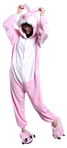 MizHome Plush Easter Bunny Rabbit Mascot Costume Cosplay Hoodies Dress S (Couples Cosplay Costumes)