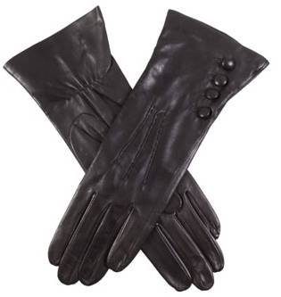 Black Rose Silk Lined Leather Gloves by Dents - Small/Medium
