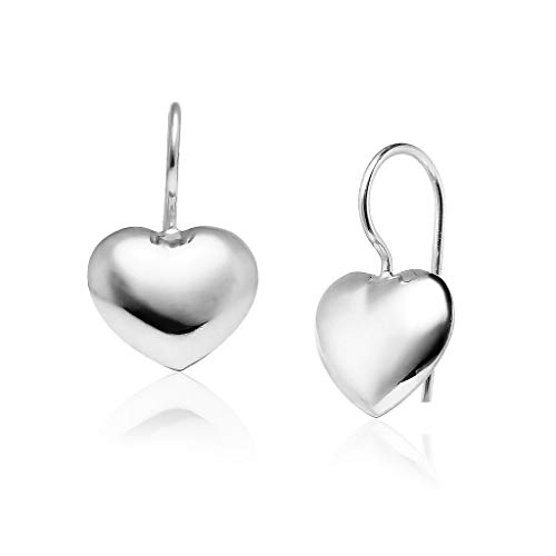 Big Apple Hoops - Genuine 925 Sterling Silver Lightweight Heart Dangle Hook Earrings Delicate and Unique Design in High Polish Mirror Finish