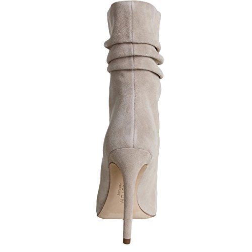 Heritage Toe Womens Open Sandra Halston Buff Pleated Suede Boots Calf Mid dAqfwPXW