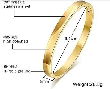 FidgetGear Stainless Steel Gold Smooth Bracelet Bangle Cuff Women Bling 6mm//8mm 6mm innder 58mm