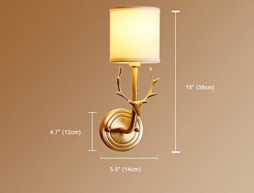 NOXARTE Brass Body Deer Head Shape Wall Mounted Light Industrial Vintage Style Fabric Lampshade Wall Sconce Wall Lamp Lighting Fixture for Bedroom Hallway Living Room W5.5 x H15 by NOXARTE (Image #6)