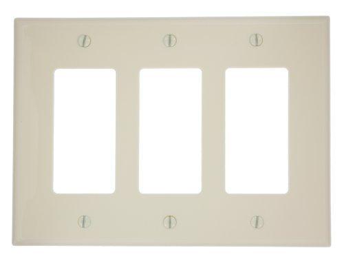Decora Gang Nylon Leviton 3 (Leviton PJ263-A 3-Gang Decora/GFCI Device Wallplate, Midway Size, Almond)