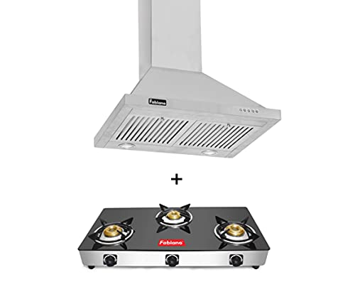 Fabiano ARMOUR_SS 60cm 1100M3/HR Suction Push Button Panel Kitchen Chimney for Easy Operate + 3 Burner Cooktop.