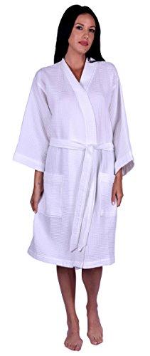 Turquoise Textile Women's Waffle Weave Kimono Robe, 100% Turkish Natural Soft Cotton, Made In Turkey (White)