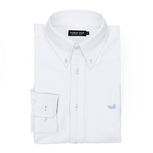 Southern Marsh University - Oxford Button Down Collar Shirt With Embroidered Duck Cotton Embroidered Oxford Shirt