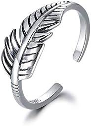 MASOP Sterling Silver Adjustable Rings for Women Men Vintage Arrow Leaf Feather Star Toe Ring Statement Knuckl