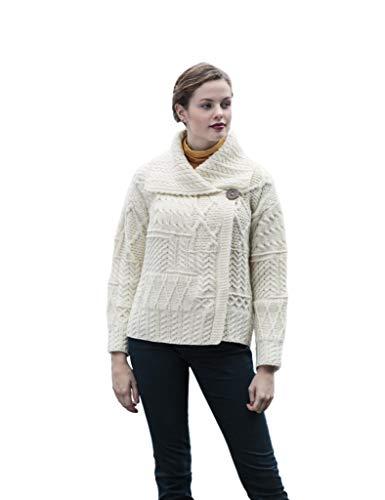 Carraig Donn White Patchwork One Button Collar Irish Merino Wool Aran Cardigan Natural,Small (Womens Cardigan Aran)