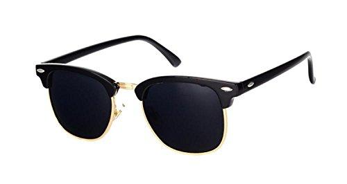 Hoared Half Metal Sunglasses Men Women Glasses Mirror Sun Glasses Fashion UV400 Classic C16 black - Rehoboth Outlets