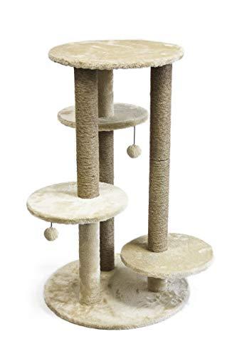 AmazonBasics Small Triple Platform Cat Tree Tower - 26 x 25 x 36 Inches, Beige
