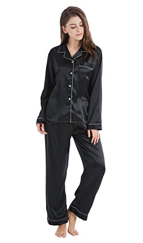 Tony & Candice Women's Classic Satin Pajama Set Sleepwear Loungewear (Small, Black with White Piping) ()