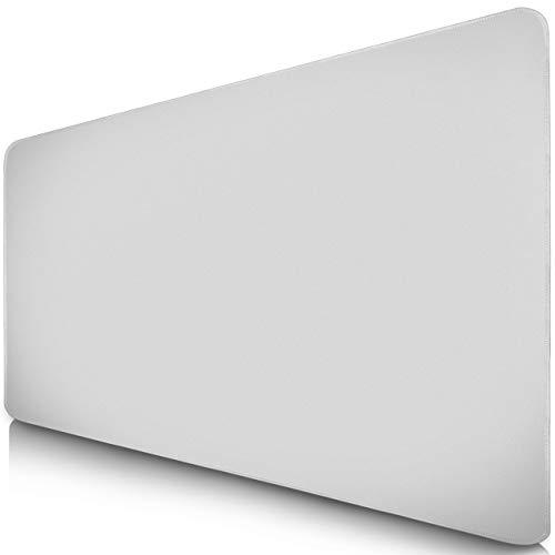 Sidorenko XXL Gaming Mauspad - 900 x 400 mm - Fransenfreie Ränder - rutschfest - XXL Mousepad I Tischunterlage - spezielle Oberfläche verbessert Geschwindigkeit und Präzision I weiß