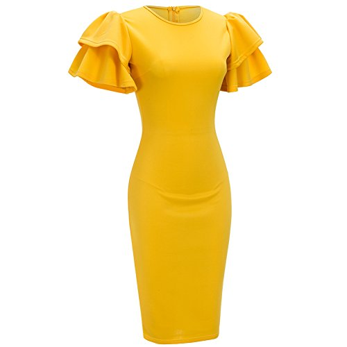Bodycon4U Women's Ruffle Sleeve Round Neck Bodycon Bandage Club Party Midi Dress Yellow M