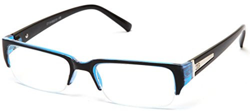 Newbee Fashion - IG Unisex Clear Lens Sleek Half Frame Slim Temple Fashion - Glasses Frames Womens Blue