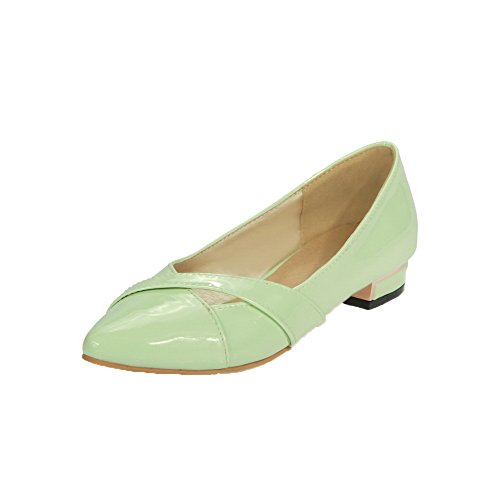 AmoonyFashion Womens Patent Leather Low-Heels Closed-Toe Pull-On Pumps-Shoes Green lFKkPSfWs