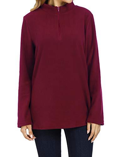 Baikea Quarter Zip Sweatshirt Women, Ladies Half Zipper Long Sleeve Mock Neck Stretchy Solf Clothes Elegant Workout Activewear Blouses Athletic Running Exercise Tops Wine XXL -