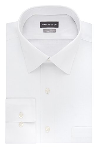 Van Heusen Men's Dress Shirts Fitted Lux Sateen Stretch Solid Spread Collar, White, 16