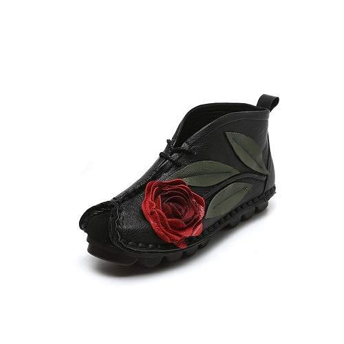 rosa rosa rosa Nero Nero Nero Nero ZHRUI 40 Scarpe fiore Comodi le Colore Flat donne Dimensione a per Verde Stitching vintage EU stivaletti TRtrR