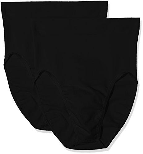 bellycloud Bauchkontroll Slip Sheer Control, Figurformend, Seamless, Braguita Moldeadora para Mujer (Pack de 2) negro (schwarz 001)